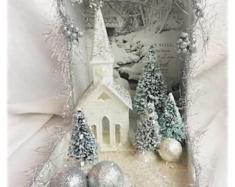 Silver/White Shadow Box Diorama Christmas Glitter Church Scene Shabby Victorian Chic svfteam ECS sct schteam