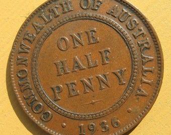 Australia Coin Half-penny 1/2d  1936 KM32