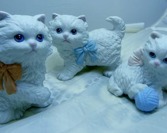 Vintage Kitten Figurines Homco Ribbon and Yarn 3 Piece Set