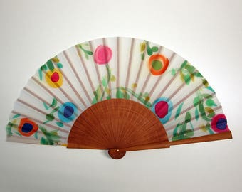 Hand fan Handpainted Silk- Abanico-Wedding gift-Giveaways-Bridesmaids- Spanish hand fan - Flowers Hand Fan 17 x 9 inches (43 cm x 23 cm)