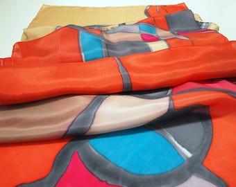 Hand Painted Silk Scarf. Hand Painted Silk Shawl. 71x18 in. Wedding Gift. Giveaways. Ooak scarf. Orange-Tan-Blue-Grey silk scarf.