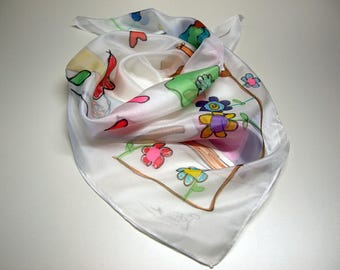 Hand painted Silk Mini-Drawings of children silk scarflette-Style Naïf Hand painted Silk scarf-Woman scarf  27.5x27.5 (70x70 cm)