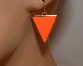 Gold and Orange Triangle Dangle Earrings Simple Earrings