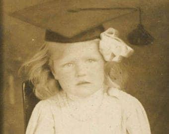 vintage photo Little Girl Wearing Graduation Cap Parasol Bonnet 5 Gem Miniature Strip