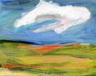 Woven Landscape I //  original  /   painting  /  one of a kind painting on a canvas panel  / cloudy sky