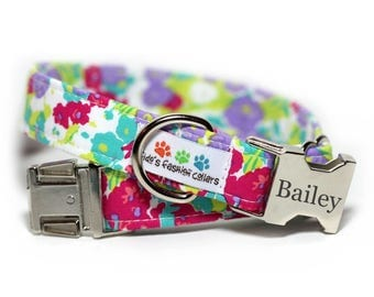 Personalized Floral Dog Collar, Flower Collar, Petal Pusher (Shown with Buckle Engraving)