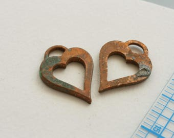 Heart drops, charms. Copper, heavily oxidized. Sold by the pair.
