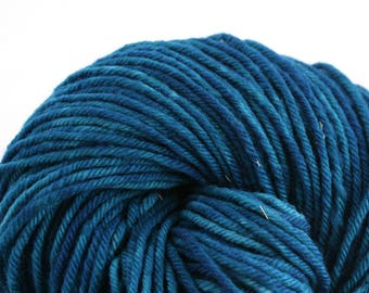 Hand Dyed Aran weight mini Empire Rambouillet Wool 213 yds 4oz Sea Bottom