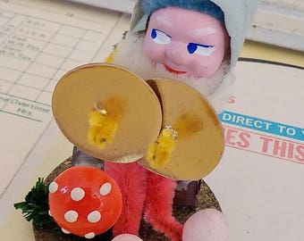 Vintage / Christmas Ornament / Gnome / Elf / Made in Japan / Mushroom / Cymbals