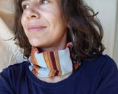 "Neckwrap / Headband ""Vertical stripes orange and blue"" TDCTB001"