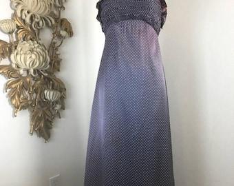 1970s dress halter dress shirred dress maxi dress size medium vintage dress 34 bust polka dot dress pewter dress high neck dress retro dress
