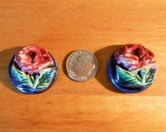 "Vintage Ceramic Flower Buttons (2) 1"" 1950-60's"
