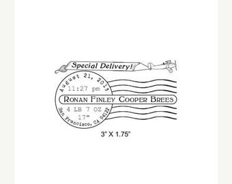 Xmas in July Special Delivery Birth Announcement Postmark Custom Rubber Stamp AD296