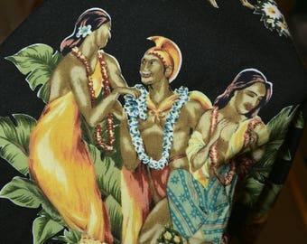 Vintage Hawaiian fabric King Kamehameha in malo with Hawaiian maidens remnant fabric