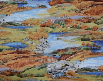 Fabric MAKOWER UK LANDSCAPE fabric Autumn quilting cotton fabric remnants