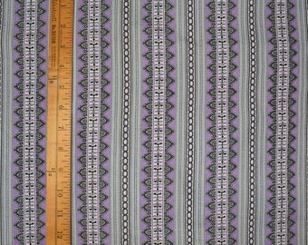 VINTAGE 1930s deco fabric cotton purple stripe remnant