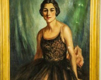 Subdued Starlet - Vintage Art Deco 1920's Oli on Canvas Portrait Painting