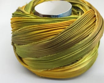 Silk Shibori Ribbon by the Yard- Golds and Greens