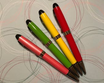 Metal pen, colorful metal ballpoint pen, refillable pens in yellow, green, pink and red