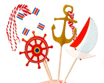 Nautical Theme Cupcake Toppers, Sailor Cupcake Toppers, Birthday Party Cake Topper, Set of 12 Anchor Sailboat Cake Topper, Ocean Beach