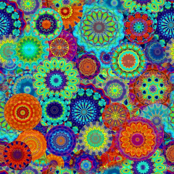 Textile Artisan Made DecorKona Cotton Fabric By The Yard Kaleidoscope Quilting