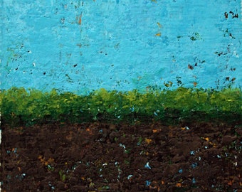 """Original Abstract Landscape Painting -- Driving By I -- 4 x 4"""""""