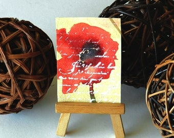 ACEO Red Poppy Flower Painting, Watercolor Poppies, Tiny  Art, Artist Card Original Painting, Poppy Love Letter, OOAK, Friend Gift, Birthday