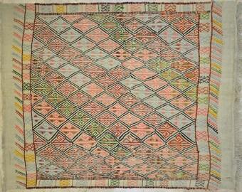 Kilim Rug 5.5' x 6.5' Soft Brights Offwhite Geometric Tribal Wool Vintage Cicim