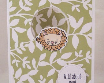 Lion Peek a Boo Card - Front and Back Lion Card - Wild About You Inside Out Card - Hand Stamped Card - Big Cat Greeting Card - Jungle Card