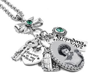Photo Memory Necklace with memorial quote, loved ones name, choice of crystals and charms in stainless steel
