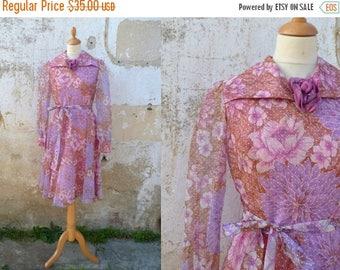 ON SALE Vintage 1970s/1980s  POLKA Dots  & Floral  veil dress size S
