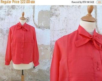 ON SALE Vintage 1960 red semi sheer secretary blouse 60s ascot blouse necktie size S/M