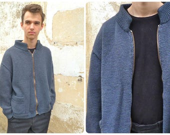 Vintage  French hand knited slate blue cardigan sweater  with zipper