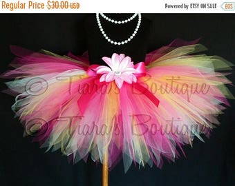 SUMMER SALE 20% OFF Girls Tutu - Birthday Tutu - Tropical Bloom - Yellow White Hot Pink Tutu - Custom Sewn 11'' Pixie Tutu - sizes newborn u
