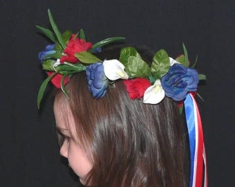 SUMMER SALE 20% OFF Flower Halo, Floral Fairy Crown, Flower Girl Head Wreath, Patriotic colors, red, white, and blue flowers