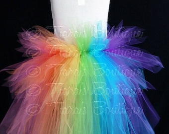 SUMMER SALE 20% OFF Rainbow Tutu Bustle - Women's Custom Sewn 3 Tiered Pixie Tutu Bustle - Up to 24 inches in length