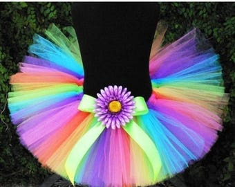"SUMMER SALE 20% OFF Girls Tutu, Neon Rainbow Tutu, Birthday Tutu, Brilliant, Rainbow Tutu, 10"" tutu, Baby Tutu, Toddler Tutu, Cake Smash Tut"