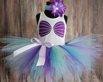 Girls Tutu Little Mermaid Outfit, Blue Purple Mermaid Birthday Set, Ariel Tutu, Mermaid Tutu Set, Glitter Seashell Sea S