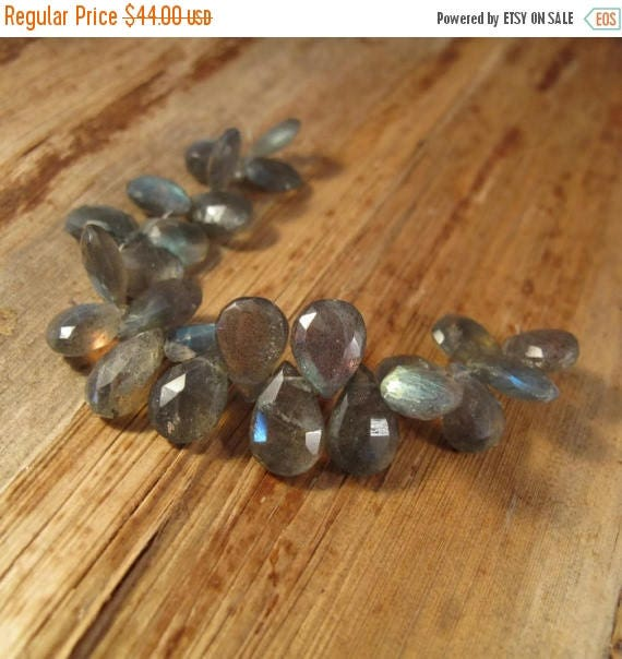 Summer SALEabration - Labradorite Beads, 4 Inch Strand of Faceted Gemstones for Making Jewelry, 10mm x 8mm - 14mm x 9mm, Natural Gemstones w