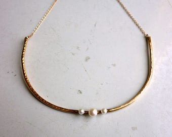 Triple Pearl Collar - 14k Gold Fill Adjustable Collar Necklace