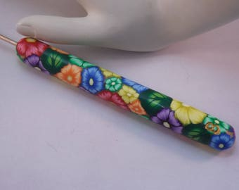 Extra Large Ergonomic Handled Tropical Floral Polymer Clay Covered Crochet Hook Boye 2.25mm