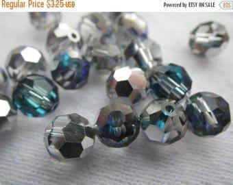 SALE 20% Off Bermuda Blue Preciosa 7mm Fire Polished Crystal Round Beads 12 Pcs