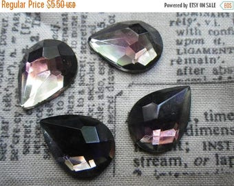 SALE 20% Off Amethyst and Black Diamond Rauten Rose 18x13mm Pear Glass Cabochon 4 Pcs