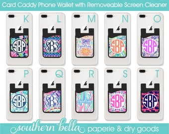 Cell Phone Card Holder Monogrammed Credit Card Caddy Custom Cell Phone Card Caddy Phone Caddy Pocket Card Pocket Cell Phone cute cell phone
