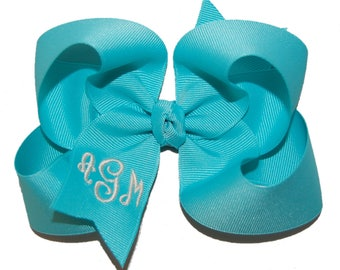 Monogrammed Bow with Headband Option -Regal Monogram Font Bow - Custom Monogrammed Bow - Your Choice of Colors
