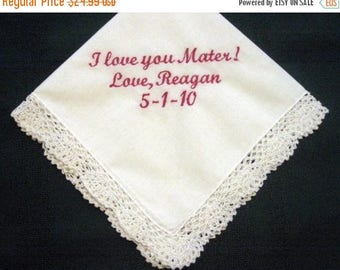 ON SALE Spanish Mother with FREE Gift Box 75S Free shipping Personalized Wedding Handkerchief