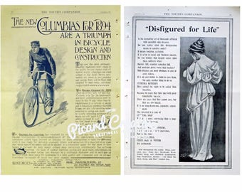 "Columbia Bicycle AD & Cuticura Soap 16 1/4"" x 11 1/4"" Victorian (1894) Advertising- Double Sided"