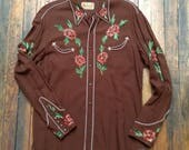 Vintage Circle A Western Shirt brown with rusty flowers and green leaves wool gabardine cowboy cowgirl wear gift snap shirt