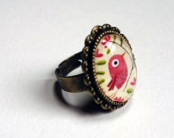 Vintage ring, beautiful bird pink BAOV144B