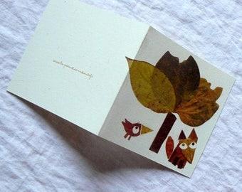 Card, little sad Fox C043
